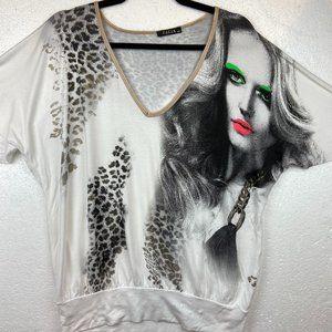 Gizia Tee shirt Art Grafic Face Sz L-XL